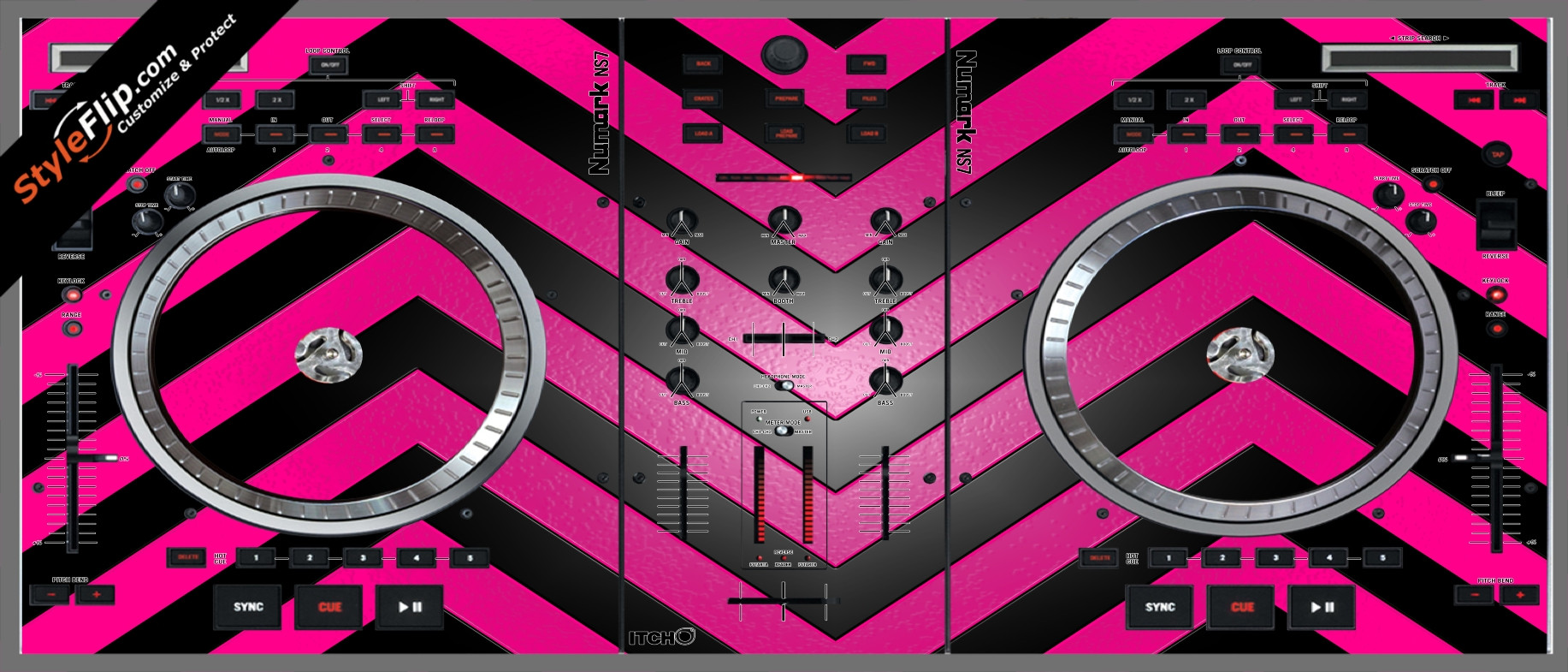 Black & Hot Pink Chevron Numark NS-7