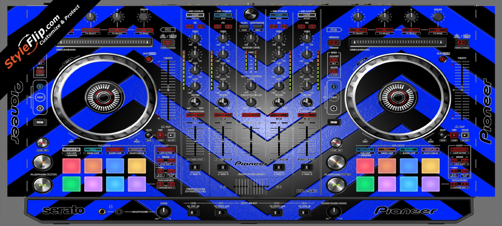 Black & Blue Chevron Pioneer DDJ-SX2