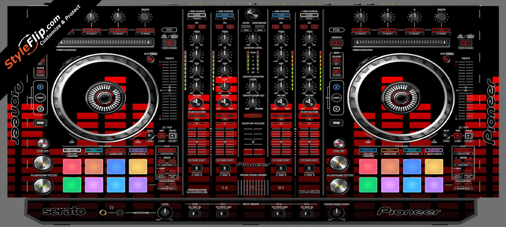 Red Equalizer Pioneer DDJ-SX2