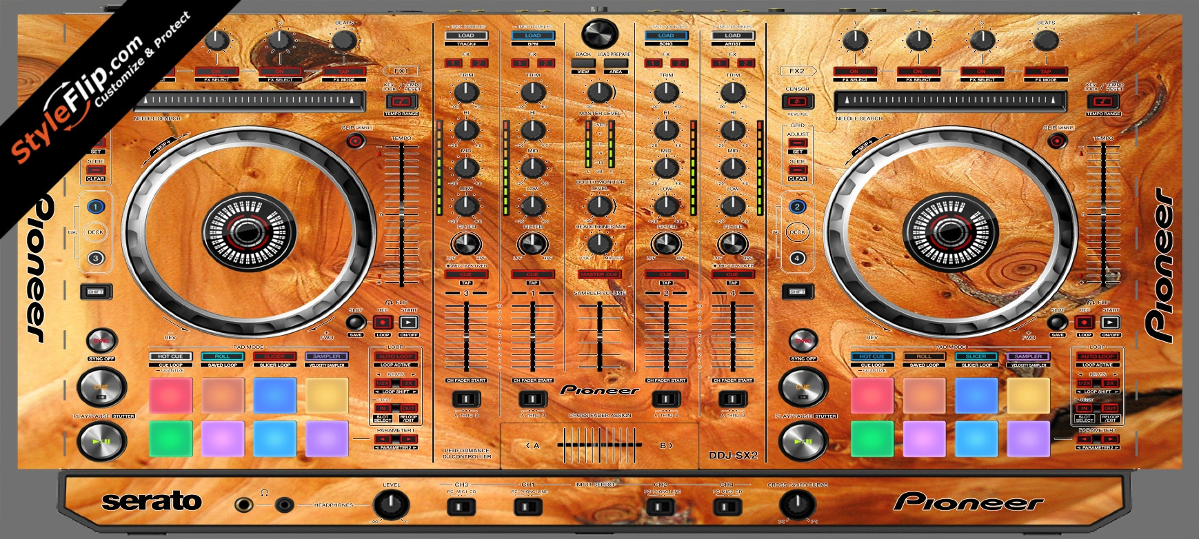 Stained Wood Pioneer DDJ-SX2