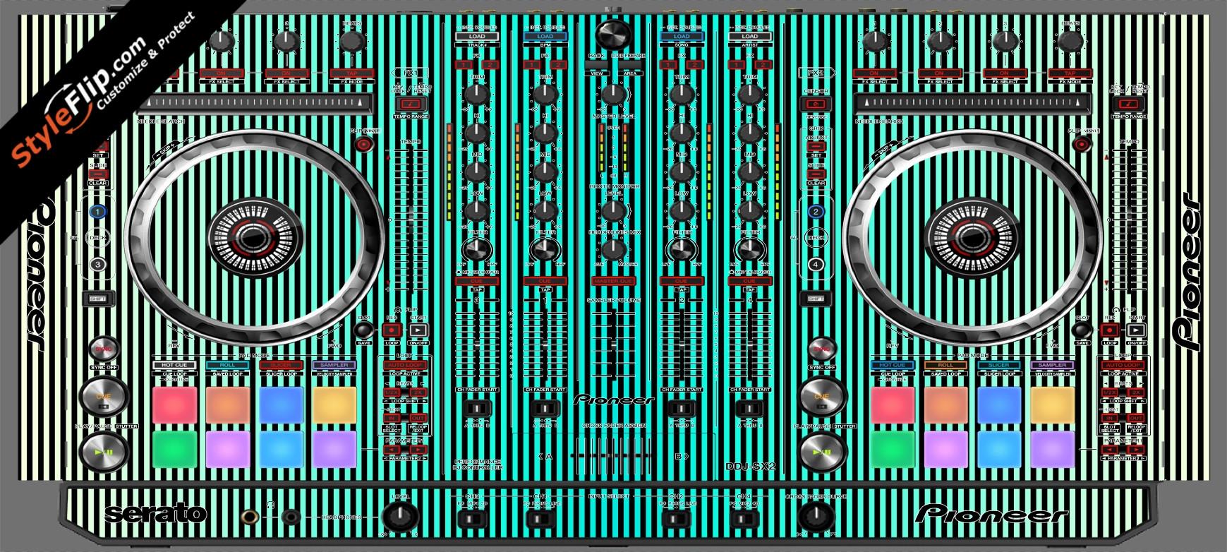 Teal Stripes Pioneer DDJ-SX2