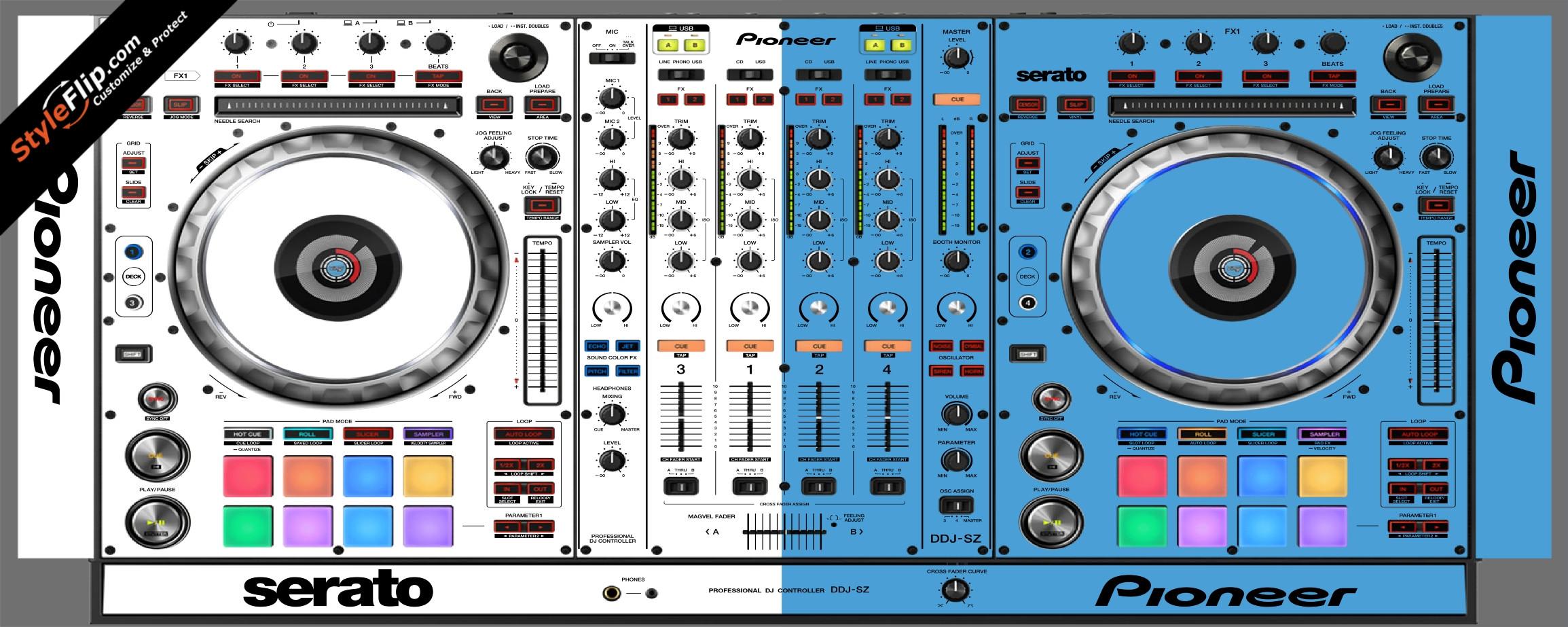 Blue & White Pioneer DDJ-SZ