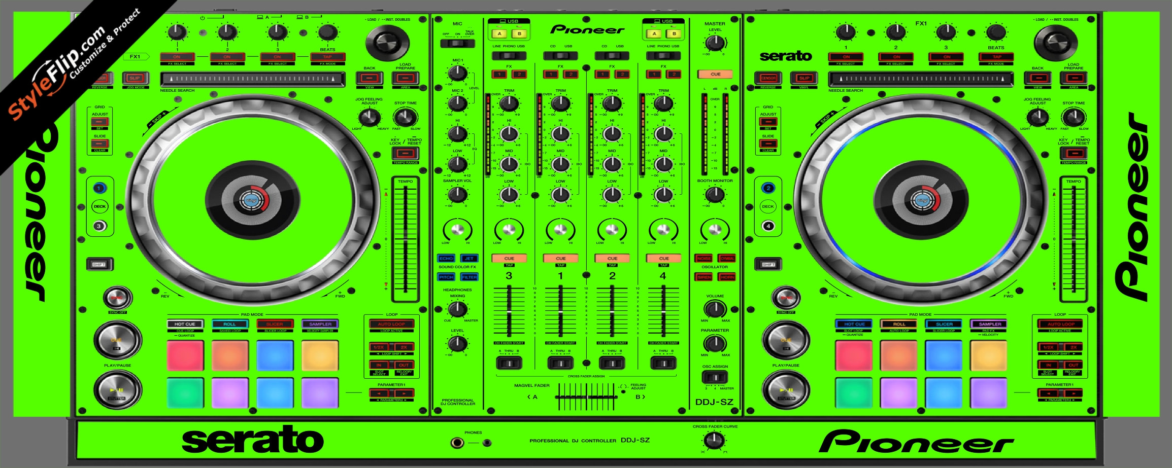 Solid Green Pioneer DDJ-SZ