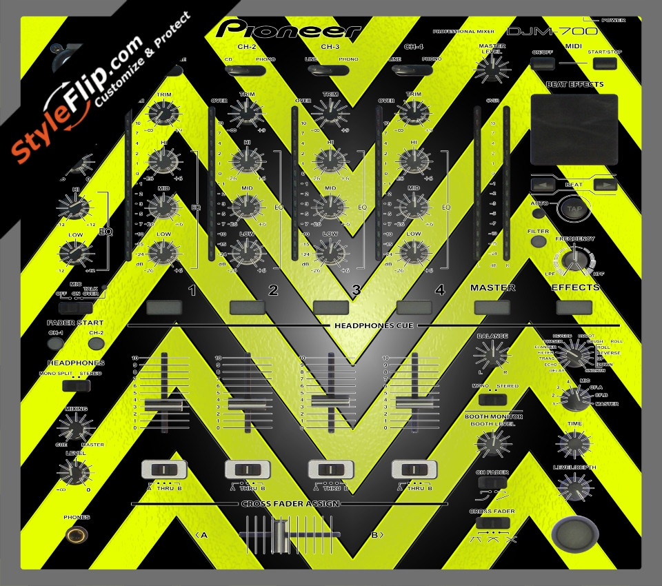 Black & Yellow Chevron Pioneer DJM 700