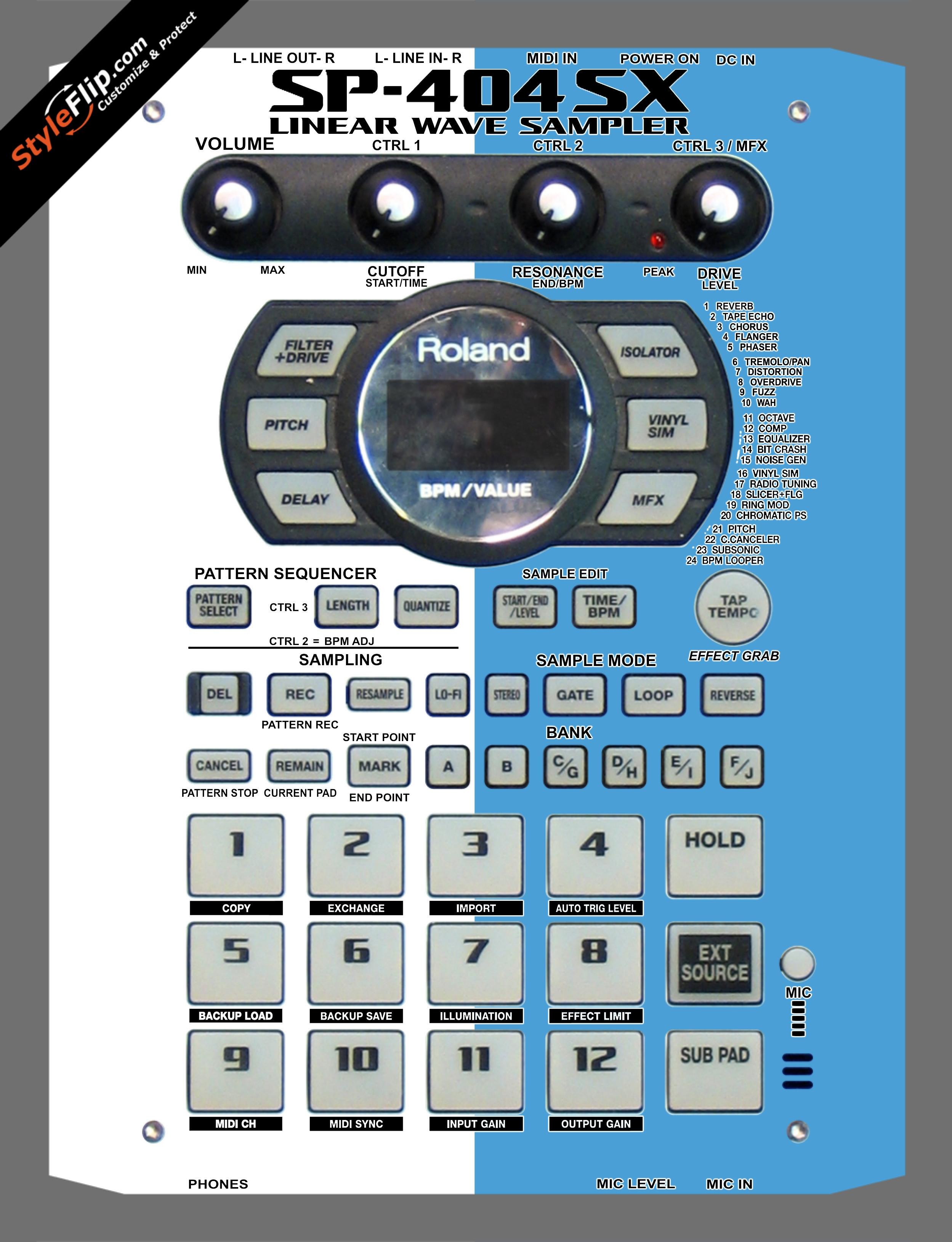 Blue & White Roland SP-404 SX