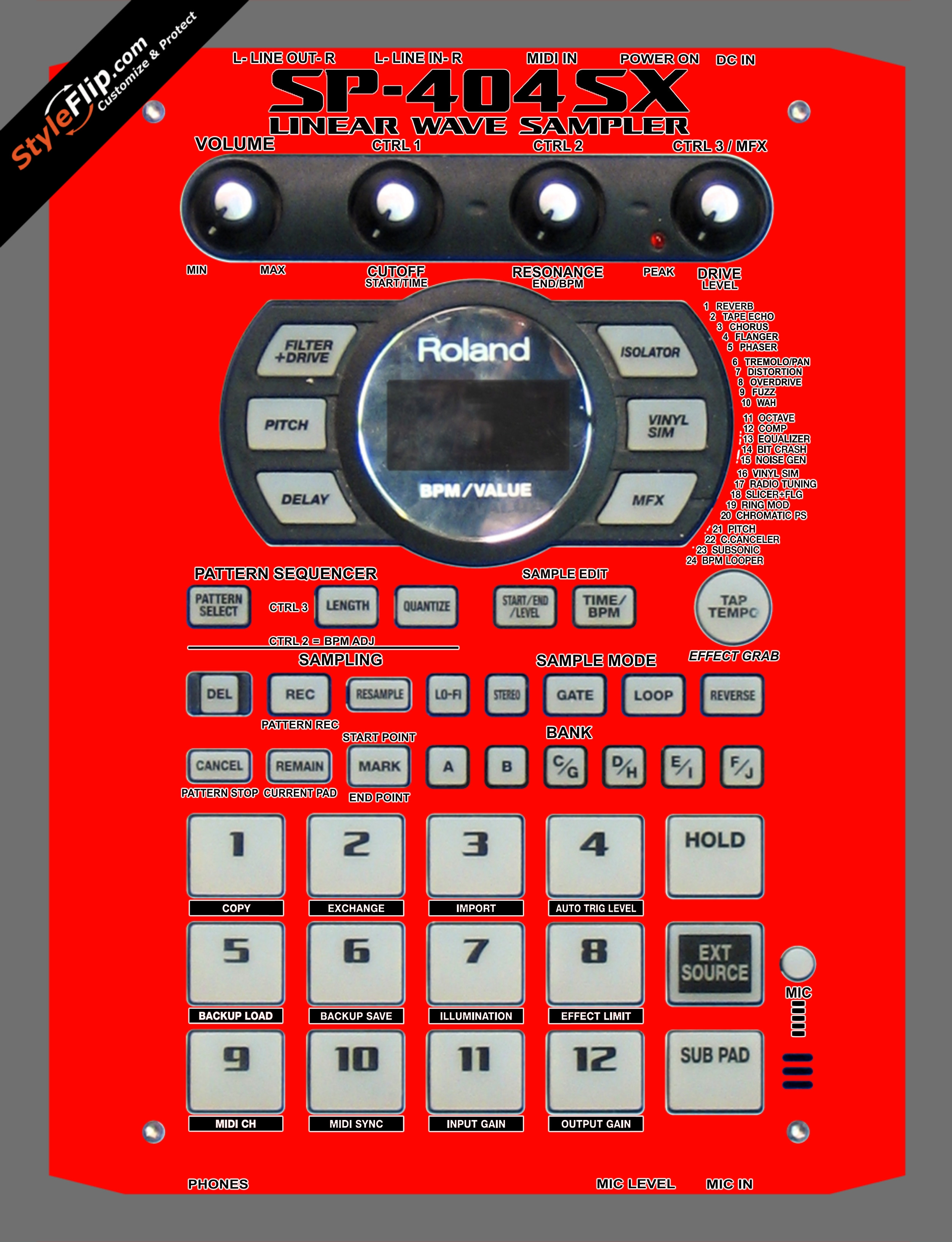 Solid Red Roland SP-404 SX