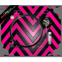 Black & Hot Pink Chevron Technics SL-1200 MK2
